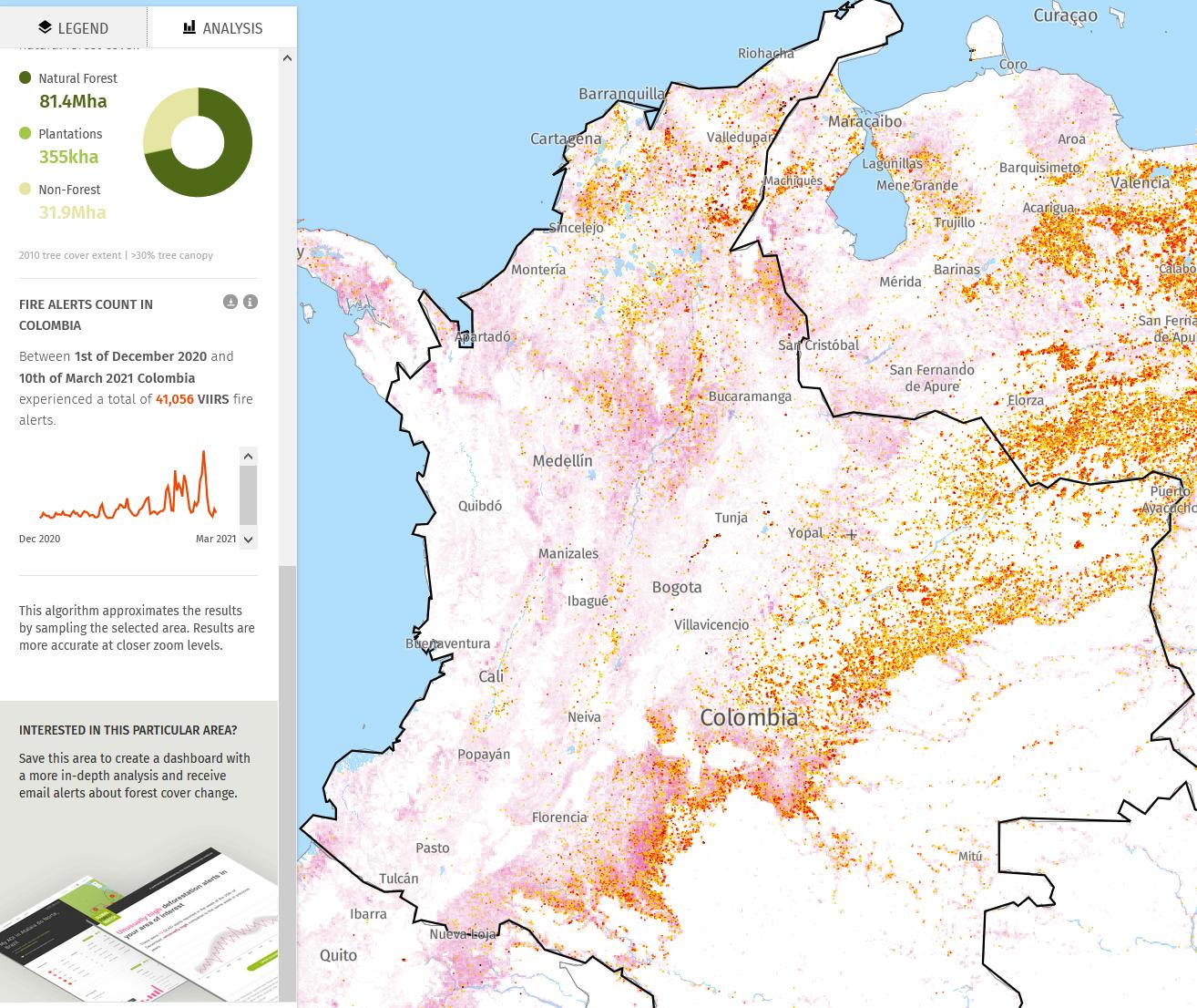 En 16 semanas, desde el 1 de diciembre de 2020 hasta el 10 de marzo de 2021, los satélites registraron más de 41,000 incendios forestales en Colombia (puntos rojos y naranjas) que están asociados con la deforestación que parece rosada. Los incendios son especialmente preocupantes en la Sierra Nevada de Santa Marta, la Serranía de Perijá, el arco del Amazonas y los Llanos. ©Global Forest Watch